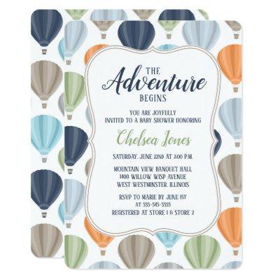 Adventure Hot Air Balloon Boy Baby Shower Invitation