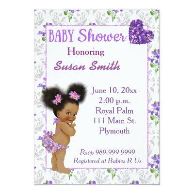African American Baby Girl Baby Shower Invitations