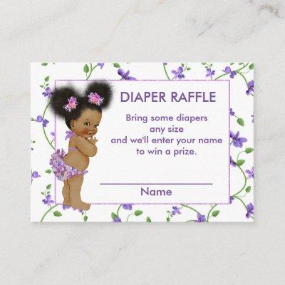 African American Baby Girl Diaper Raffle Enclosure Card