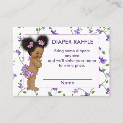 African American Baby Girl Diaper Raffle Enclosure Invitations