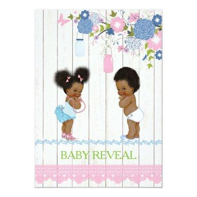 African American Baby Reveal Baby Shower Invitatio Invitations