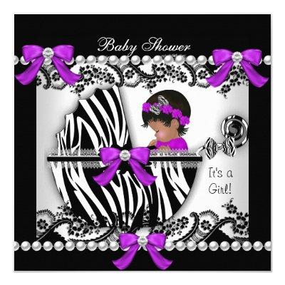 African American Baby Shower Baby Cute Girl Zebra Invitations