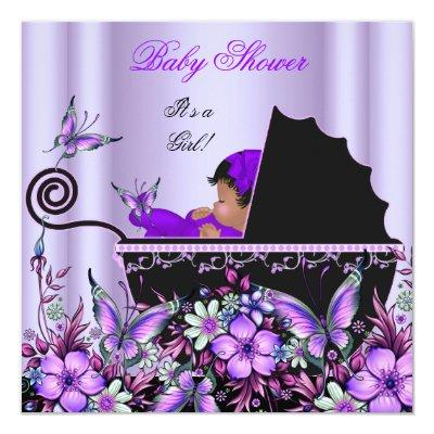 African American Baby Shower Baby Girl Purple Invitation