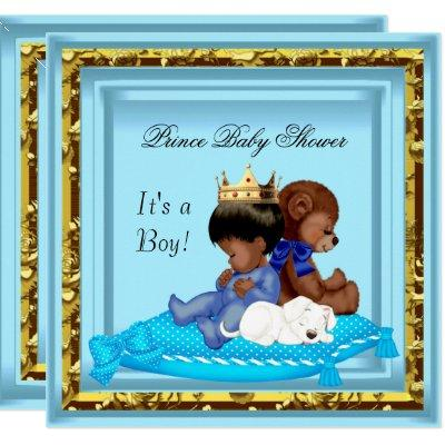 African American Baby Shower Blue Gold Boy Prince Invitation