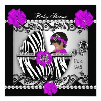 African American Baby Shower Cute Baby Girl Zebra Invitation