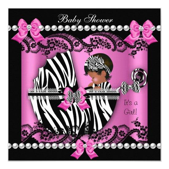 African American Baby Shower Cute Girl Pink Zebra Card Baby Shower