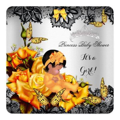 African American Baby Shower Girl Butterfly Yellow Invitations
