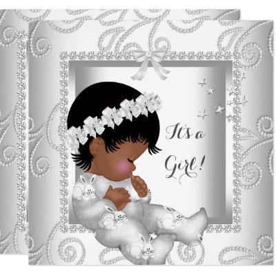 African American Baby Shower Girl Diamond White Invitations