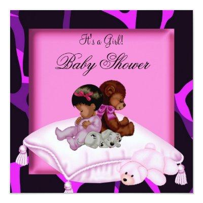 African American Baby Shower Girl Hot Pink Purple Invitation