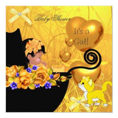 African American Baby Shower Girl Kitten Orange Invitations