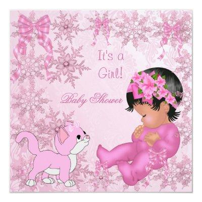 African American Girl Kitten Pink Invitations