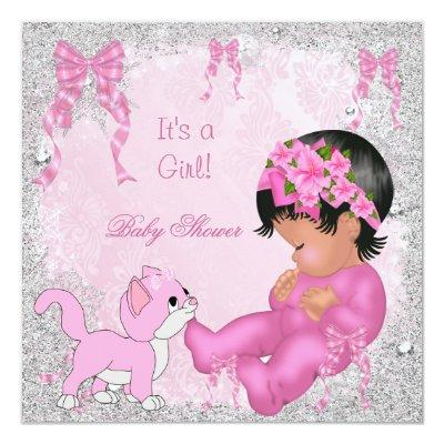African American Baby Shower Girl Kitten Pink Invitations