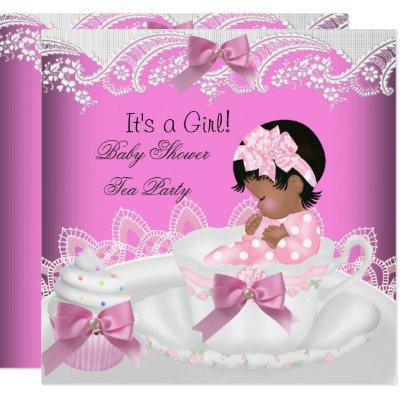 African American Baby Shower Girl Pink Baby Teacup Invitation