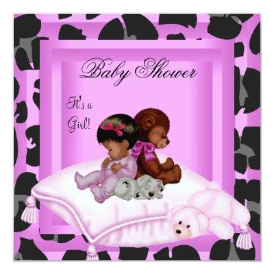 African American Baby Shower Girl Pink Invitation