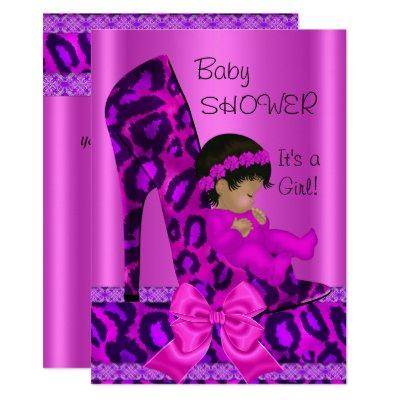 African American Baby Shower Girl Pink Leopard Invitation