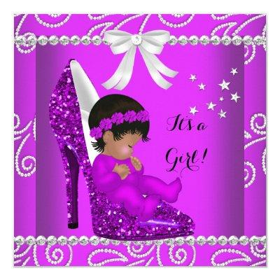 African American Baby Shower Girl Pink Shoe Invitation