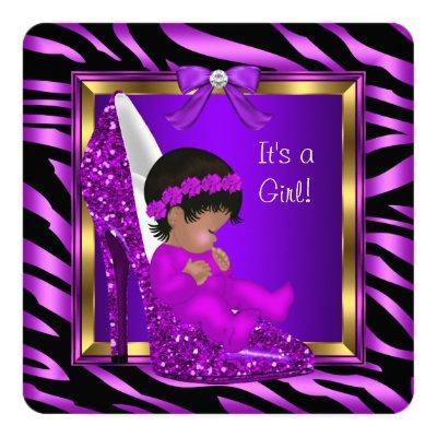 African American Baby Shower Girl Purple Pink Invitation