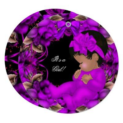 African American Baby Shower Girl Purple Roses R3 Invitation