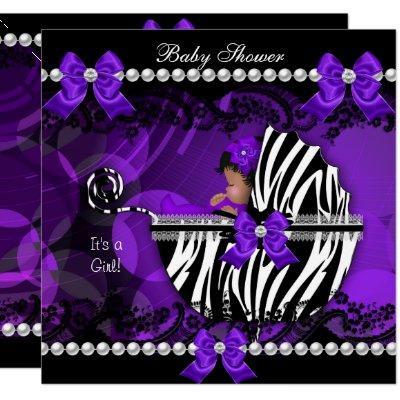 African American Baby Shower Girl Purple Zebra 2 Invitations