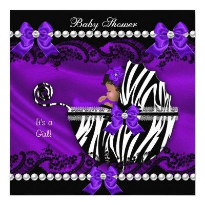 African American Girl Purple Zebra Invitations