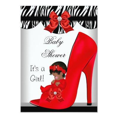 African American Baby Shower Girl Red Baby Shoe 2 Invitation