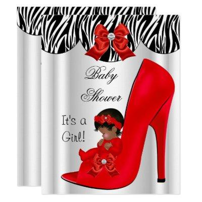 African American Baby Shower Girl Red Baby Shoe Invitation