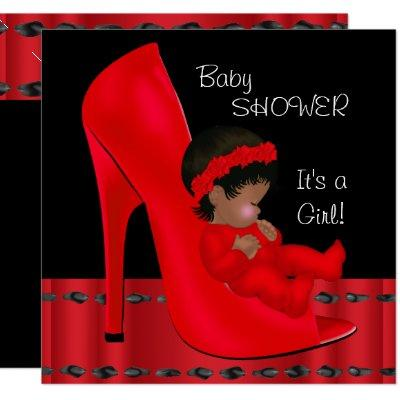 African American Baby Shower Girl Red Shoe 2 Invitation