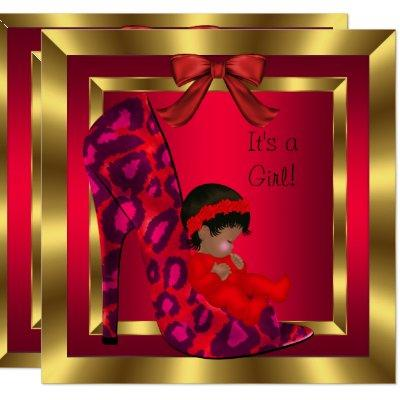 African American Baby Shower Girl Red Shoe Gold Invitation