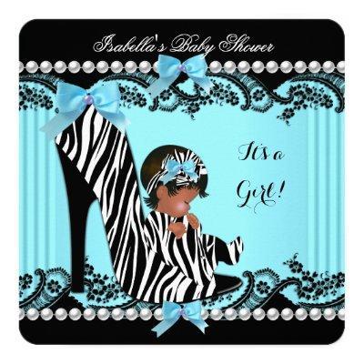African American Baby Shower Girl Zebra Teal Invitations