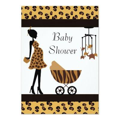 African American Baby Shower Invitations Safari