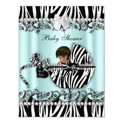 African American Baby Shower Zebra Boy or Girl Invitations