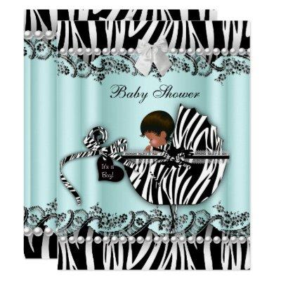 African American Baby Shower Zebra Boy or Girl Invitation