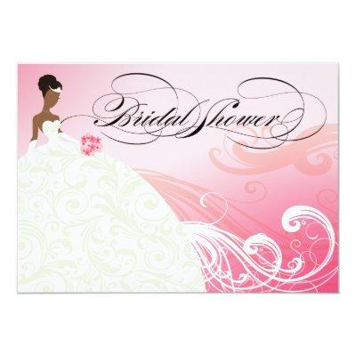 AFRICAN AMERICAN BRIDE Bridal Shower | baby pink Invitations