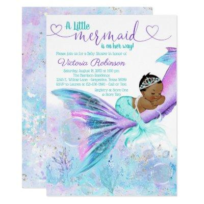 African American Ethnic Mermaid Baby Shower Invitations