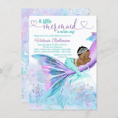 African American Ethnic Mermaid Baby Shower Invitation