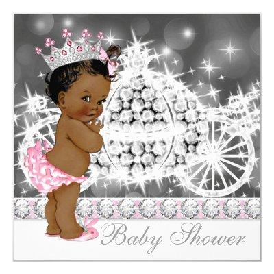 African American Ethnic Princess Baby Shower Invitation