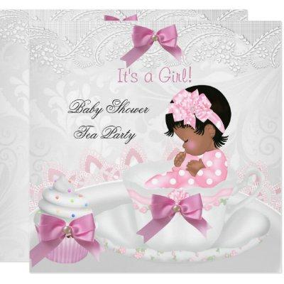 African American Girl Baby Shower Pink Baby Teacup Invitations