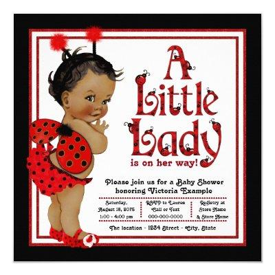 African American Ladybug Baby Shower Invitations