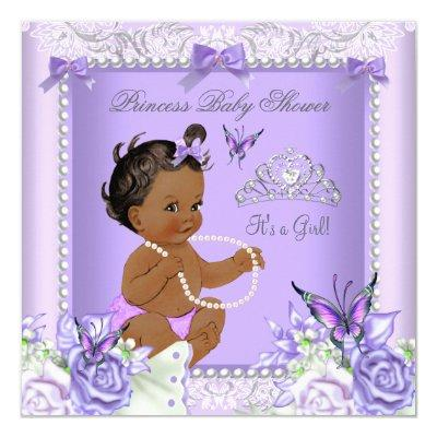 African American Lavender Gray Baby Shower Girl Invitations
