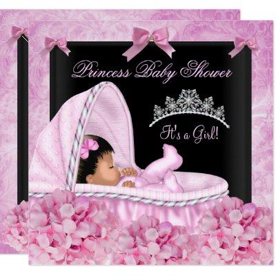 African American Little Princess Baby Shower Girl Invitation