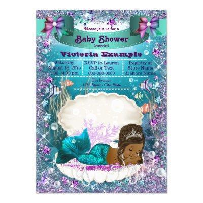 African American Mermaid Princess Baby Shower Invitation