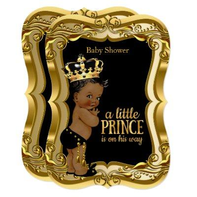 African American Prince Baby Shower Black Gold Invitations