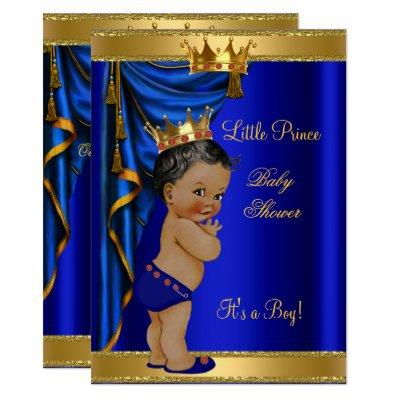 African American Prince Baby Shower Blue Gold Red Invitation