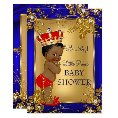 African American Prince Baby Shower Gold Red DD1 Invitation