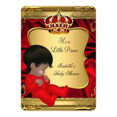 African American Prince Boy Baby Shower Red Gold Invitations