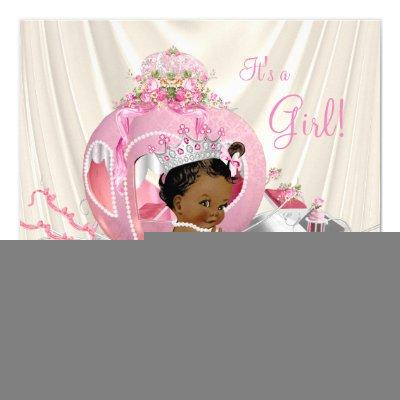 African American Princess Baby Shower Pearl Invitation