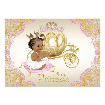 African American Princess Pink Gold Baby Shower Invitation
