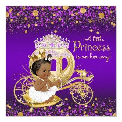 African American Princess Purple Gold Invitations