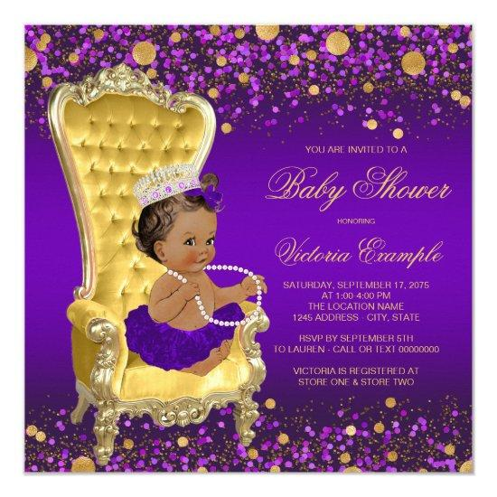 African American Princess Purple Gold Baby Shower Invitations