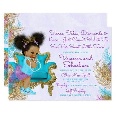 African American Princess Turquoise & Purple Invitation
